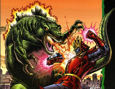 Essential Godzilla back cover by Ernie Chan