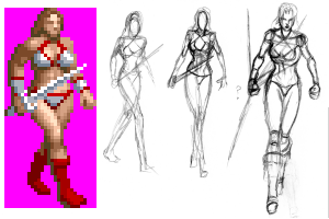 Tyris Flare sprite to sketch